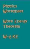 Physics Worksheet Work Energy Theorem