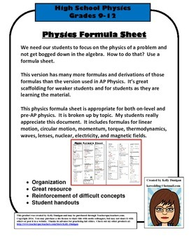 Formula Sheet Worksheets & Teaching Resources | Teachers Pay Teachers