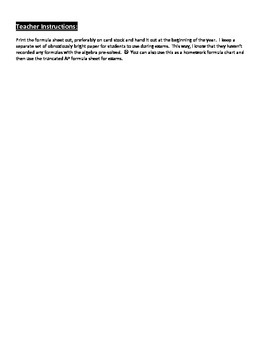 Physics formula sheet - pre-ap