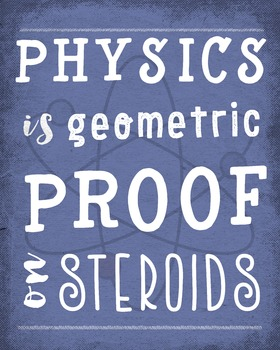 Physics is geometry on steroids - printable quote poster