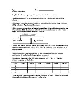 Physics lab - balancing and torque