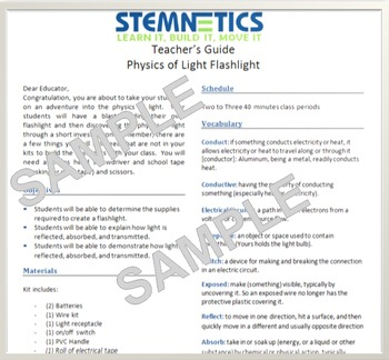Physics of Light Flashlight NGSS (7th Grade)
