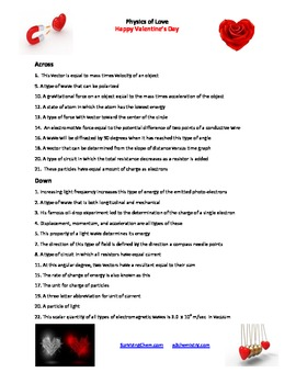 Physics of Love: A fun Valentine's Day Puzzle activity/worksheet for HS classes
