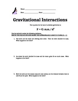 Physics worksheet on Universal Gravitation