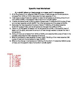 Physics/Chemistry - Specific Heat Worksheet