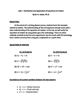 PhysicsLab1- Verification and Application of Equation of Motions
