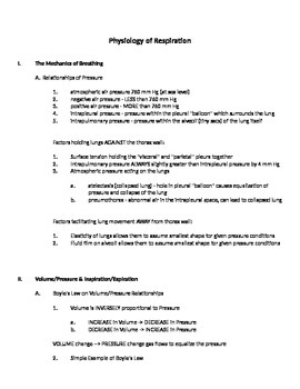Physiology of Respiration (Study Aid/Handout)