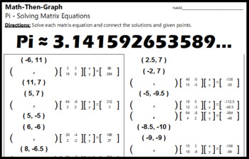 Pi - A Math-Then-Graph Activity - Solving Matrices