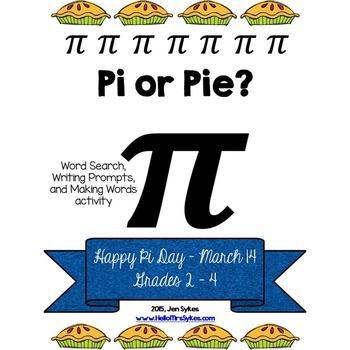 Pi Day Free ELA Word Work and Writing