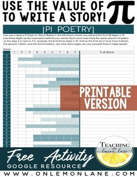 Pi Day Activities for Middle School | Pi Day Poetry | Pi Day Worksheet