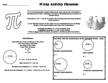 Pi Day Activity - Circumference, Area, History, Word Search