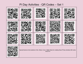 Pi Day Activity QR Codes