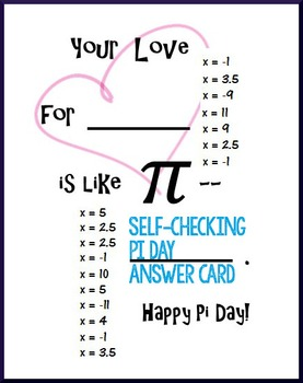 Pi Day Algebra – Solve 2-step Equations