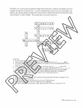 Pi Day Activities All About Pi Crossword Puzzle and Word Search Find