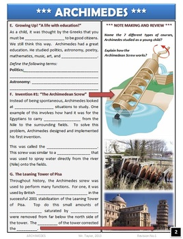 Pi Day - Archimedes Note Packet, Activities, and Lesson Plans