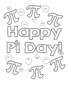 Pi Day Area of Circles Color Page Activity