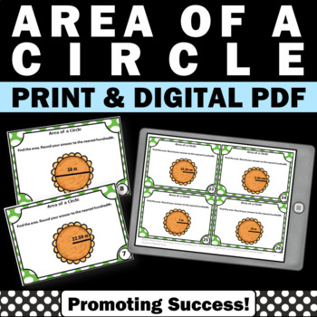 Area of a Circle, Geometry Task Cards, 7th Grade Math Review, Diameter & Radius