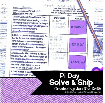 Pi Day (Circumference and Area of Circles) Solve and Snip® Word Problems