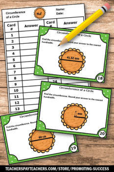 Circumference of a Circle, Geometry Task Cards, 7th Grade Math Review Games