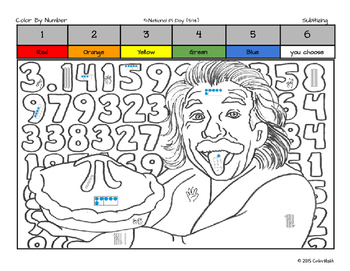 Pi Day Coloring Page by Math Skill