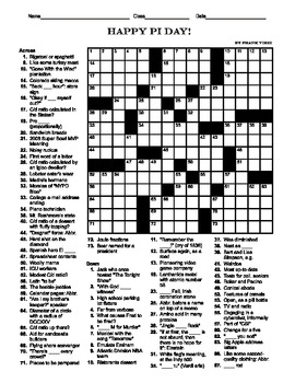 Pi Day Crossword (15 X 15)