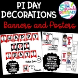 Pi Day Decorations- Banners and Posters in Color and Black