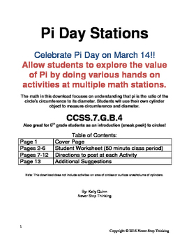 Pi Day Hands-on Activities, Student Materials, and Stations