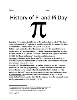 Pi Day - History of Pi and Pi Day - lesson facts information questions