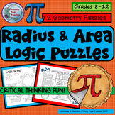 Pi Day Logic Puzzles,  Geometry Brain Teasers, Radius & Area Logic Puzzles