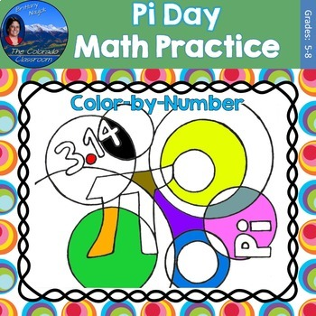 Pi Day Math Practice Color by Number Grades 5-8 Bundle