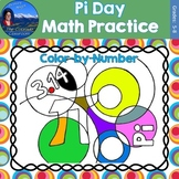 Pi Day Math Practice Color by Number Grades 5-8 Bundle