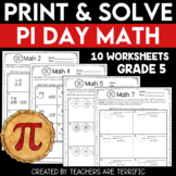 Pi Day Math Print and Solve Gr. 5