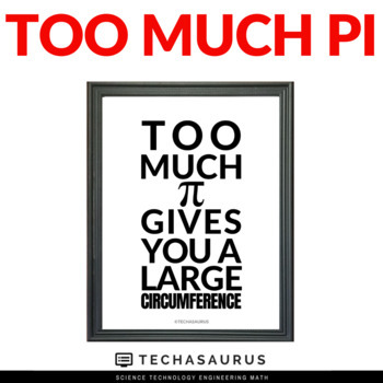 Pi Day Poster - Too much pi gives you a large circumference!