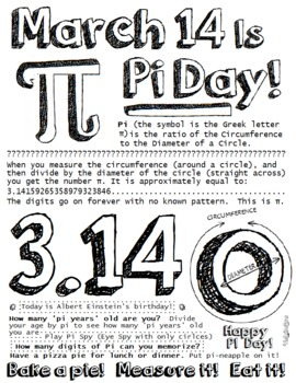 photograph about Pi Day Worksheets Printable known as Pi Working day Printable
