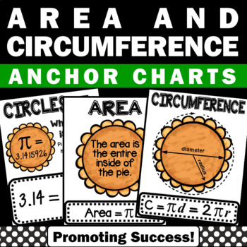 Area and Circumference of Circles Anchor Charts, Geometry Posters, Pi Day