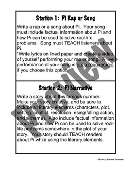 Pi Day Stations and Choice Board for Literacy Classes