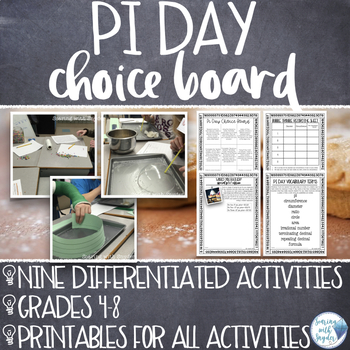 Pi Day Choice Board Activities for Upper Elementary and Mi