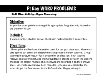 Pi Day Word Problems - Math Mixer Activity - Upper Elementary