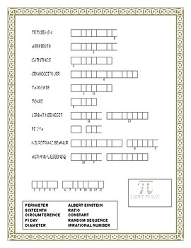 Pi Day-Word Search, Double Puzzle & Hidden Message & Fun Facts