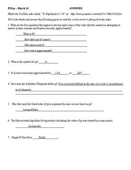 Pi Day Worksheet