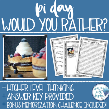Pi Day Would You Rather Math Activity