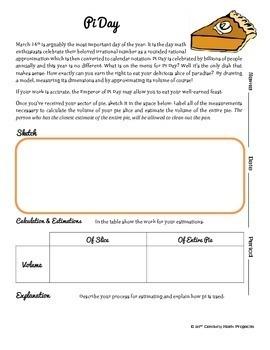 Pi Day! -- Yummy Circle & Cylinder - 21st Century Math Project