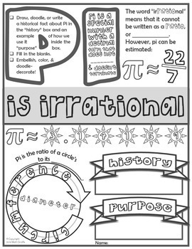 Pi Doodle Notes For Pi Day Or Anytime By Math Giraffe Tpt