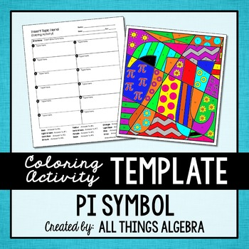 Coloring Activity Template Pi Symbol Personal Use Only By All