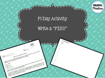 "Pi day ""Piku"" writing activity"