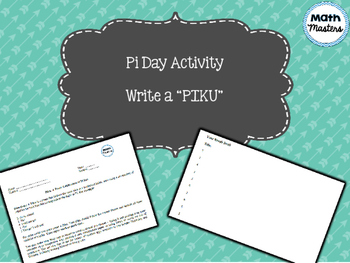"Pi day ""Piku"" writing activity"