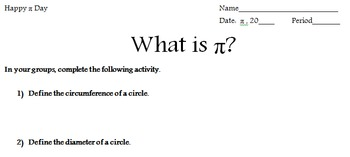 Pi day activity: ratio of circumference to diameter of circles