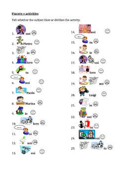 Piacere and ARE activities worksheet 2