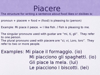 Piacere for Food Preferences and Activities