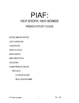 Piaf, Her Story, Her Songs-French Study Guide